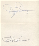 Dizzy & Paul Daffy Dean Signed 3x5 Index Card Lot of 2