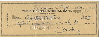 Wilbur Fats Henry Signed Personal Check Pro Football HOF D. 1952