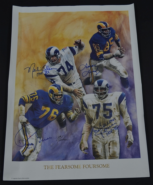 "Los Angeles Rams ""Fearsome Foursome"" Autographed Color Litho Print"