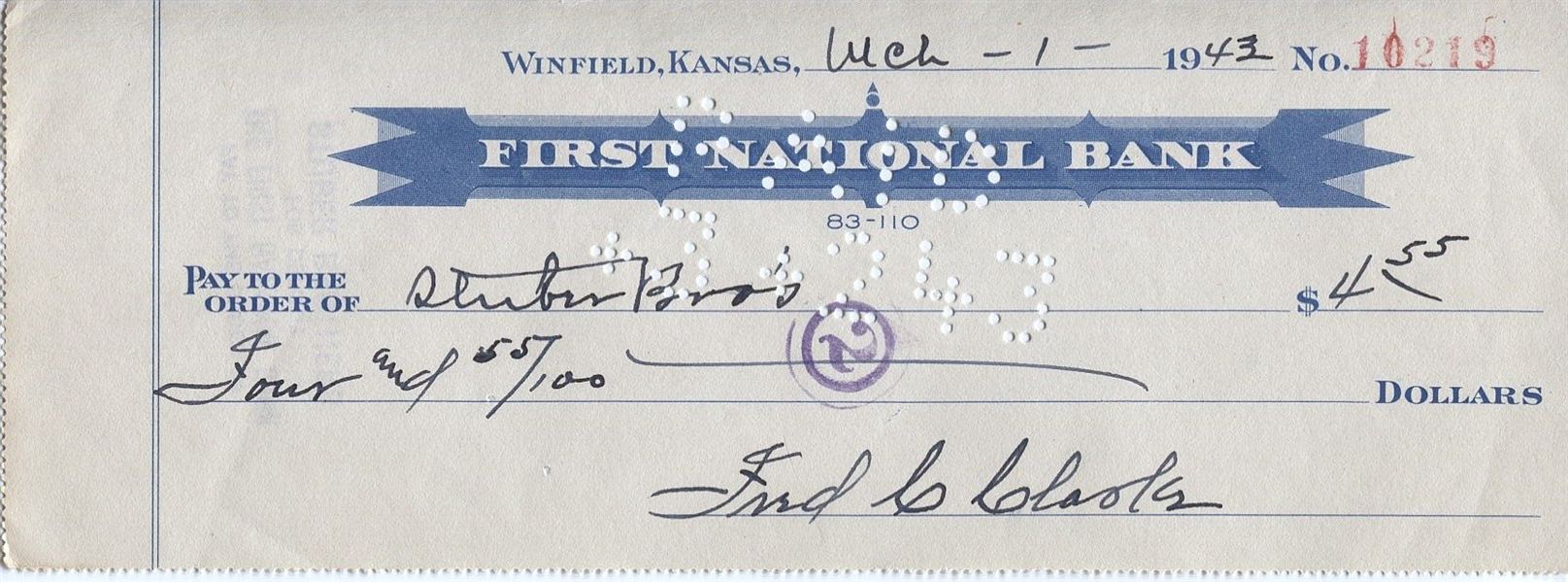 Fred Clarke SUPER RARE Signed Personal Check