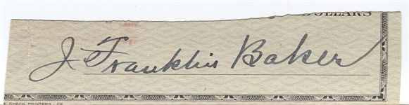 Home Run Baker Cut Check Autograph Signature D. 1963 HOF