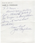 Jimmy Conzelman Signed Handwritten Note Pro Football HOFer D. 1970