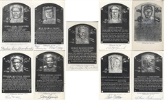 Lot of 9 B&W Signed HOF Plaque Postcards w/ Sam Crawford
