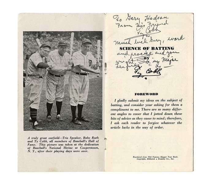 1940's Ty Cobb Signed Twice Science of Batting Booklet - JSA LOA