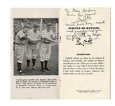 "1940s Ty Cobb Signed Twice ""Science of Batting"" Booklet - JSA LOA"