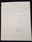 Ray Scott Signed Handwritten Letter #3  – Voice of the Green Bay Packers