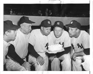 Mickey Mantle Helps Celebrate Teammate's Birthday Original 1954 TYPE I Photo PSA/DNA LOA