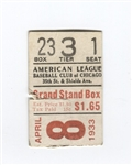 April 8, 1933 Chicago Cubs vs White Sox Ticket Al Simmons Home Run