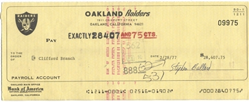 Cliff Branch 4 X Pro Bowl – 3 X Super Bowl Winner Signed Oakland Raiders 1977 Payroll Check