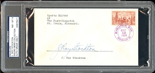 J. Roy Stockton Signed Envelope Baseball HOF Writers Wing D. 1972