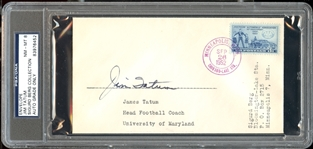 Jim Tatum Signed Envelope College Football HOF coach Oklahoma Maryland UNC