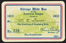 1922 Chicago White Sox Season Pass Ticket Base Ruth 4 Home Runs - To Future Mayor of Chicago