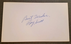 Ray Scott signed Autographed 3x5 index card Voice of the Green Bay Packers