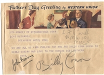 Billy Conn signed Autographed Telegram Boxing Hall of Fame