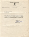 Jim Tatum Signed Letter from 1948 College FB HOF Oklahoma Maryland UNC