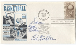 Ed Wachter Signed 1961 Naismith Basketball HOF FDC D. 1966 Tough Signature