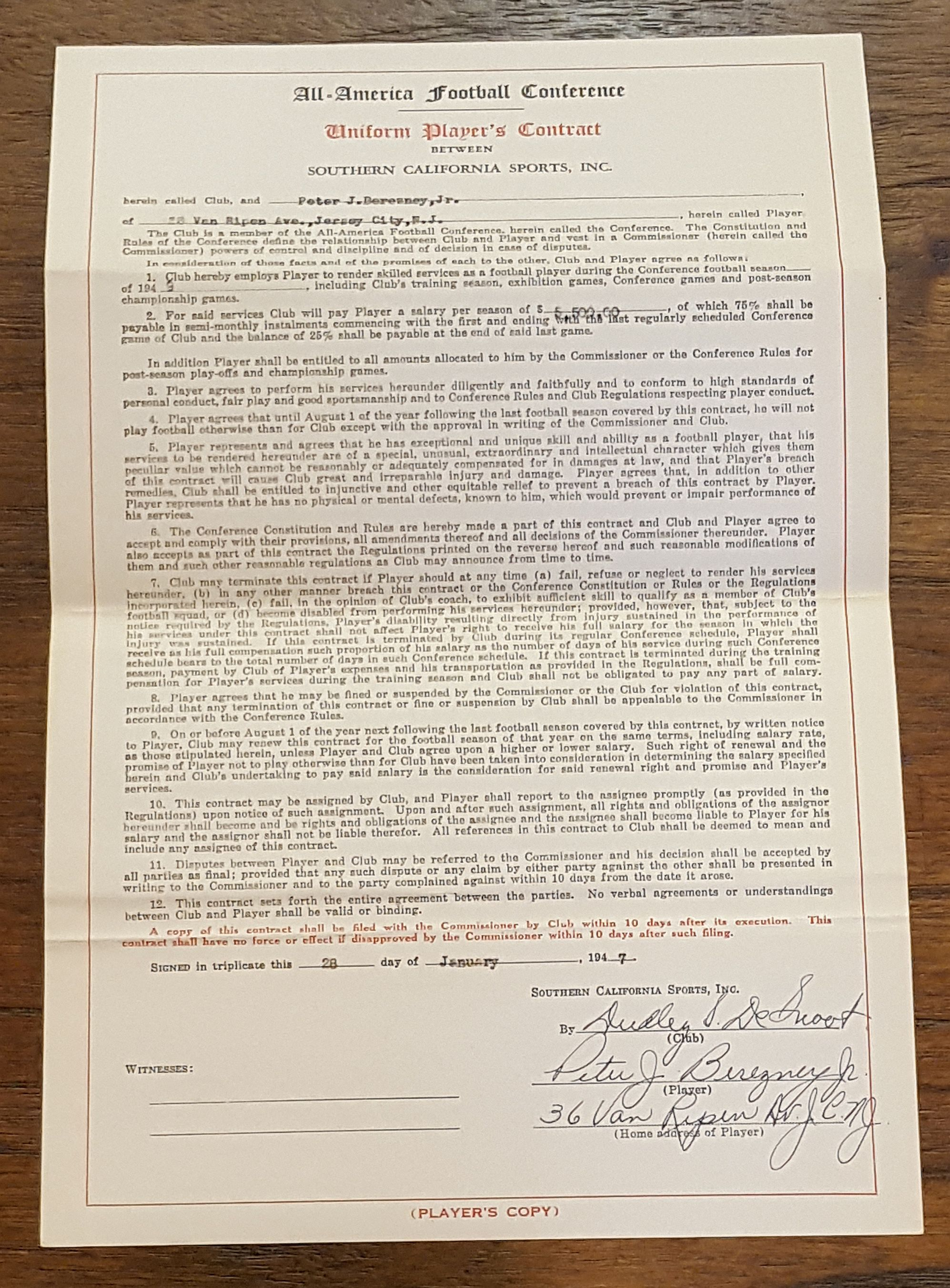 d799674b0d4 Pete Berezney   Dudley DeGroot Signed 1949 L.A. Dons AAFC Football Contract  Notre Dame ...