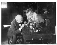 "1922 Thomas Edison & Charles Steinmetz, ""2 Wizards at Work"" in the Lab original Photo"