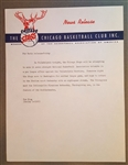 1949-1950 Chicago Stags – Philadelphia Warriors  – Press News Release – Letterhead – 1st Year NBA