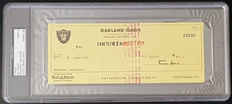 Al Davis Signed Raiders Payroll Check from 1977 to HOFer – Jim Otto