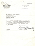 Walter O'Malley Signed Letter Regarding the Broadcasting of the 1947 Season
