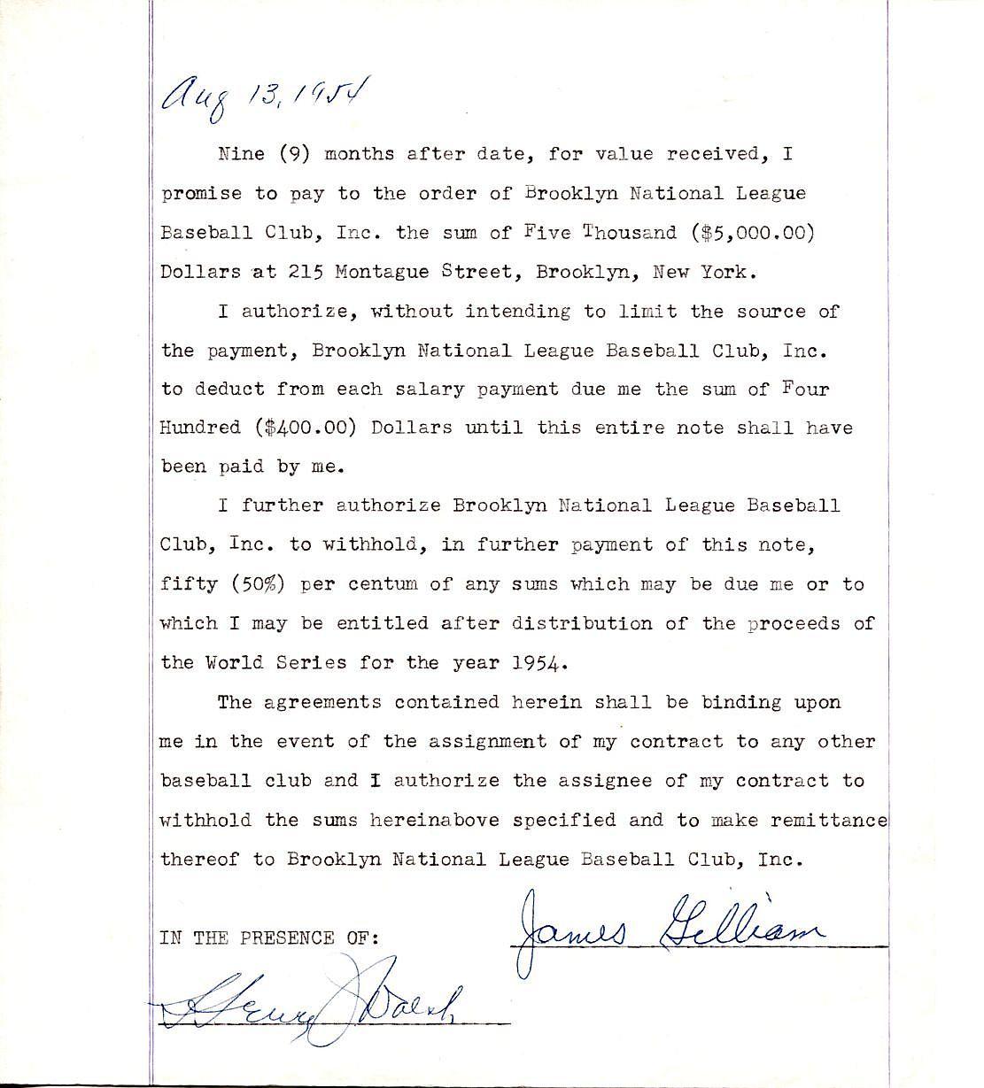 Item Detail Jim Gilliam Signed 1954 Brooklyn Dodgers Loan