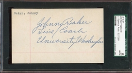 Johnny Baker College Football HOF Signed 3x5 Index Card USC D.1979