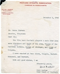 Dick Harlow Signed Letter College Football HOF D.1962 Penn State Harvard