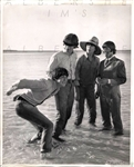 1965 The Beatles Hit the Beach Playful Original Photo of the Fab 4