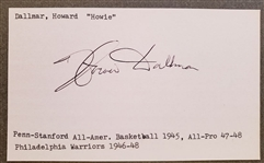 Howie Dallmar Signed 3x5 Index Card Philadelphia Warriors Stanford Penn