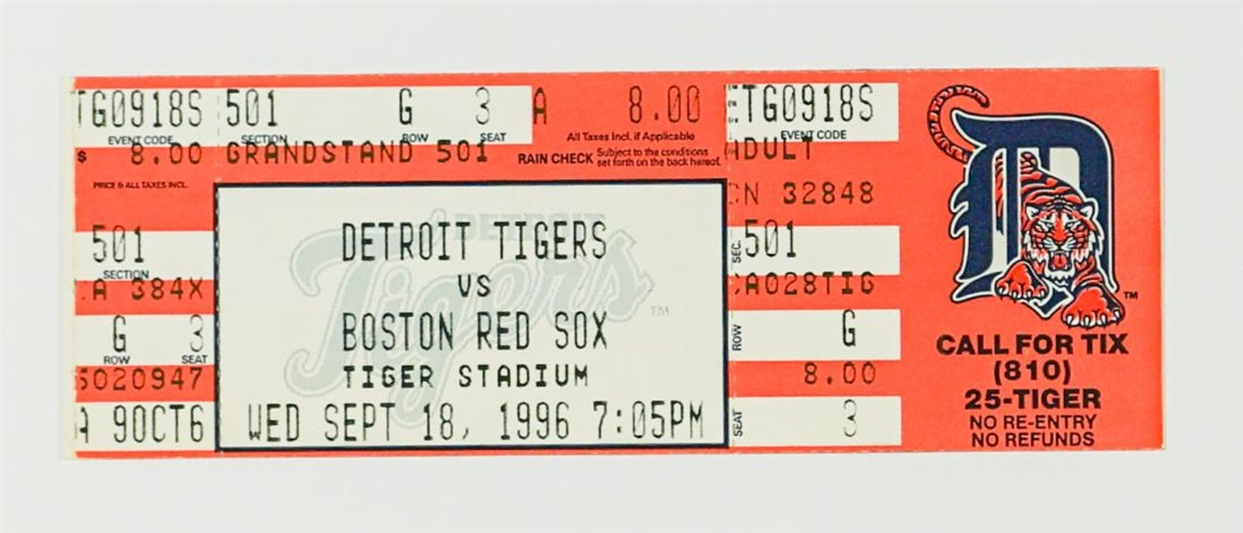 1996 Detroit Tigers Full Ticket From Roger Clemens 20 Strikeout Game – Red Sox