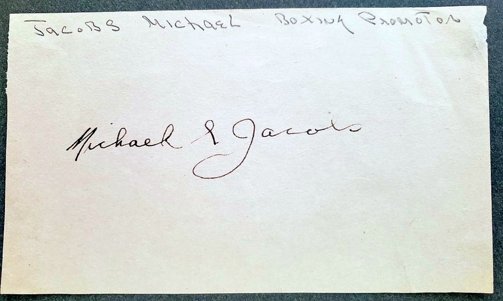 Mike Michael Jacobs Signed Album Page Boxing HOF D. 1953