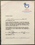 Cy Young Winner & HOFer – Jim Palmer Signed Topps Contract Baltimore Orioles
