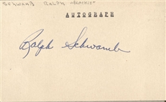 Ralph Blackie Schwamb Vintage 1940's Signed Index 3x5 Card Baseball Gangster