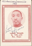 Larry Humes 1965-66 Evansville Basketball Card Schedule Signed