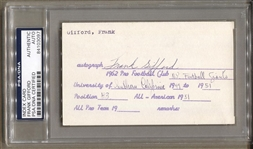 Frank Gifford Signed 3x5 index card document NY Giants Football HOF PSA/DNA