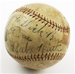 Babe Ruth Single Signed 1930's Baseball New York Yankees HOF – JSA LOA