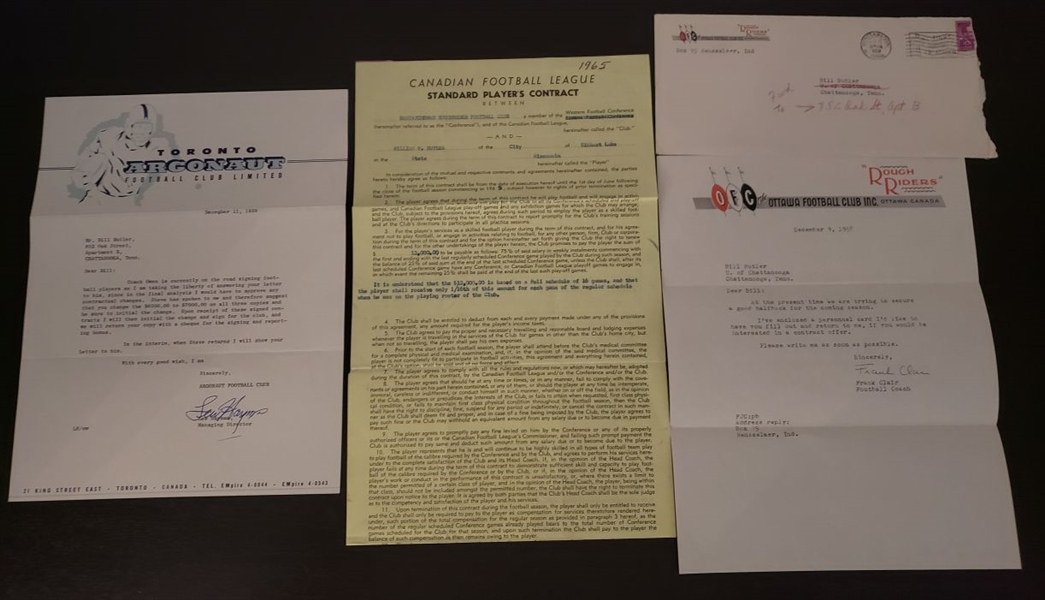 Bill Butler Signed CFL Football Contract & 2 Signed Letters – Loaded with CFL HOFers