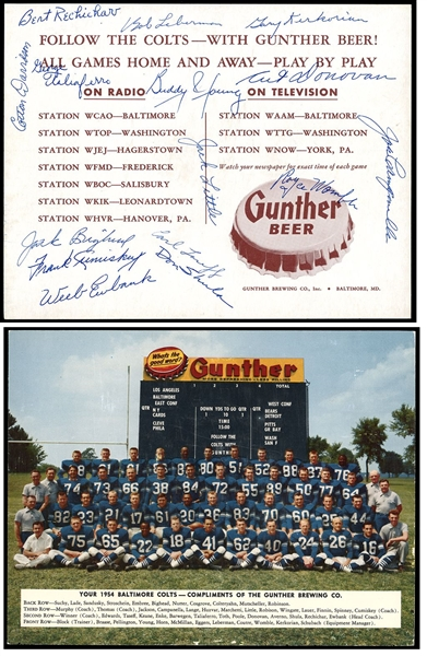 1954 Baltimore Colts Team Signed Photo w/ 15 Autographs