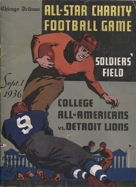 1936 Detroit Lions vs. College All-Stars NFL Football Program Loaded with HOFers