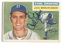CARL ERSKINE 1956 Topps BROOKLYN DODGERS #233 Baseball Card AUTO AUTOGRAPH Signed