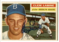 Clem Labine 1956 Topps BROOKLYN DODGERS #295 Baseball Card AUTO AUTOGRAPH Signed