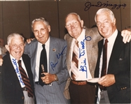 "Joe DiMaggio (d. 1999), Bill Dickey (d. 1993), Ben Chapman (d. 1993), and Joe Sewell (d. 1990) Quadruple Signed 8x10 ""Old Timers Reunion"" Photo"