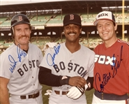 Wade Boggs & Jim Rice (Red Sox) & Carlton Fisk (White Sox) Signed 8x10 Color Photo