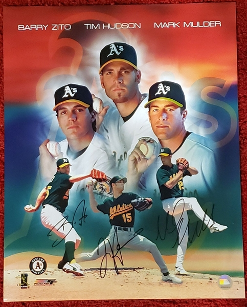 Barry Zito, Tim Hudson, & Mark Mulder Big 3 Oakland A's Pitching Aces Signed Oversized Photo