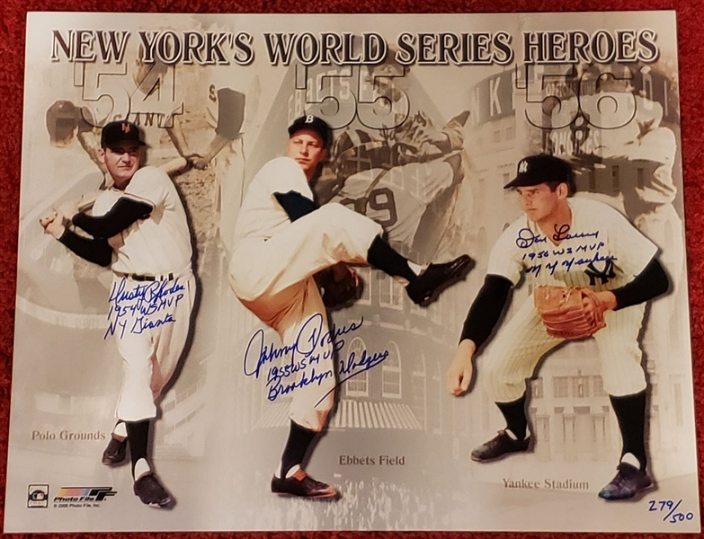 1954-56 New York's World Series Heroes Oversized Photo signed by Dusty Rhodes, Johnny Podres, Don Larsen