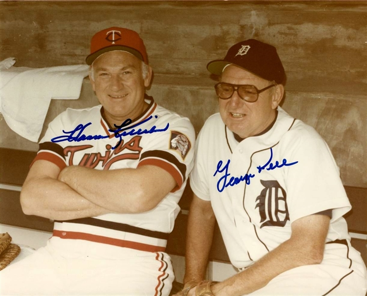 Baseball Hall of Famers - Harmon Killebrew & George Kell Signed 8x10 color photo