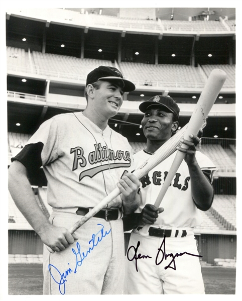 Jim Gentile (Orioles) & Leon Wagner (Angels) signed 8x10 photo