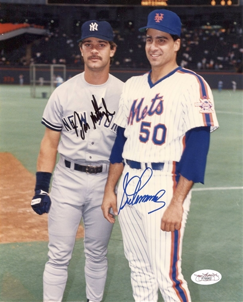 Don Mattingly (Yankees) & Sid Fernandez (Mets) Signed 8x10 color photo