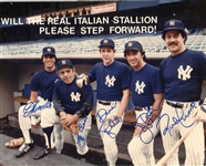 """Will the Real Italian Stallion Please Step Forward"" Signed by Mazzilli, Berra, Righetti, Pepitone and Cerrone New York Yankees"